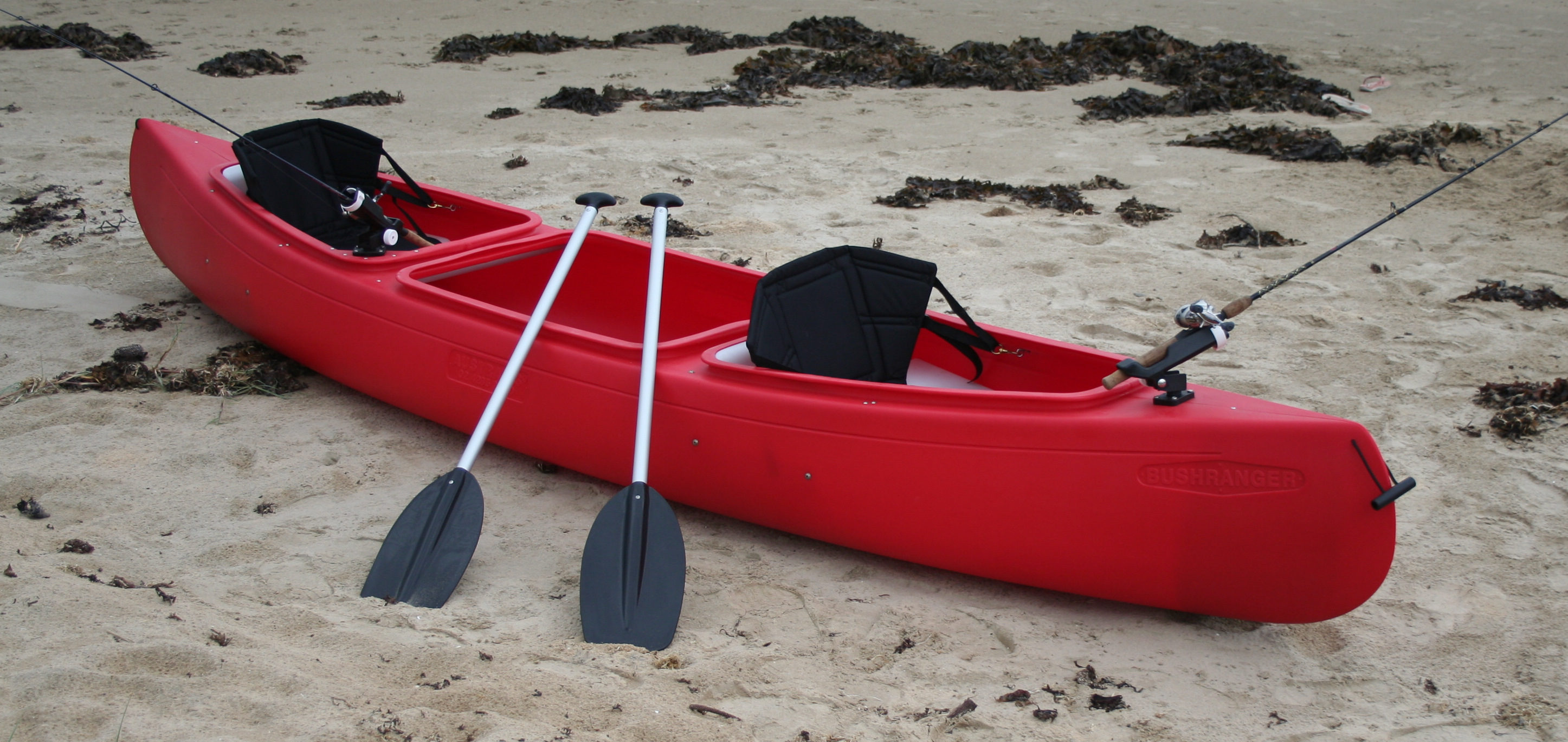 3 seat bushranger angler and fishing canoes made in for Kayak accessories fishing