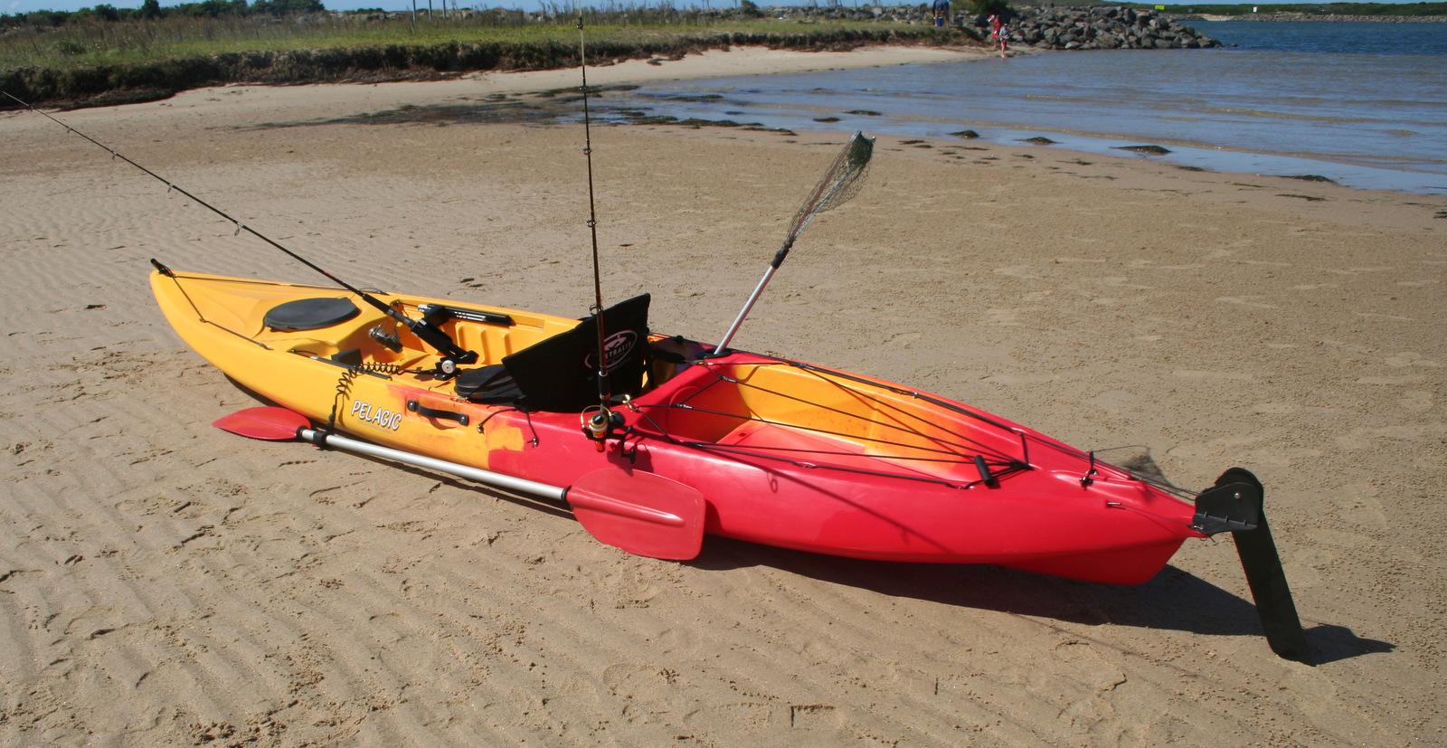 Pelagic sit on top fishing kayak with rudder made in for Sit on fishing kayak