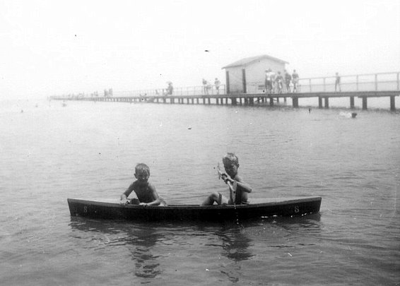 David and John canoeing in the 1950s